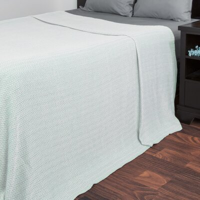 Barmeen Chevron Egyptian Quality Cotton Blanket Size: Full / Queen, Color: Seafoam