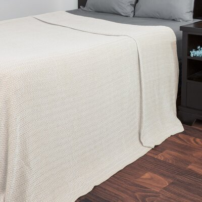 Barmeen Chevron Egyptian Quality Cotton Blanket Size: King, Color: Taupe