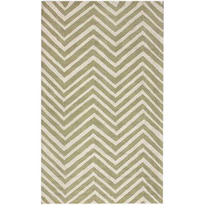 Brant Green / Ivory Chevron Area Rug Rug Size: Rectangle 7'6