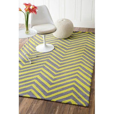Jarrell Hand-Hooked Gray/Green Area Rug Rug Size: Rectangle 76 x 96