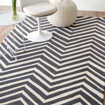 Jessica Charcoal / Ivory Chevron Area Rug Rug Size: Runner 26 x 10