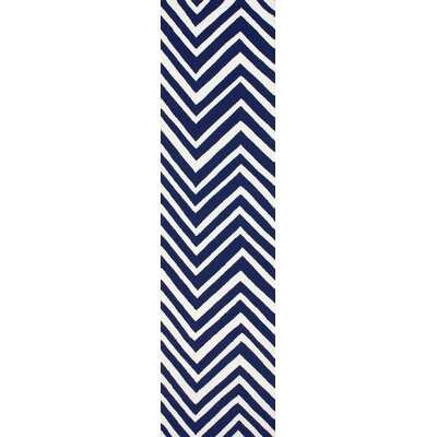 Brant Navy Blue Chevron Area Rug Rug Size: Runner 26 x 10