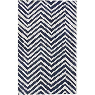 Brant Navy Blue/White Chevron Area Rug Rug Size: 86 x 116