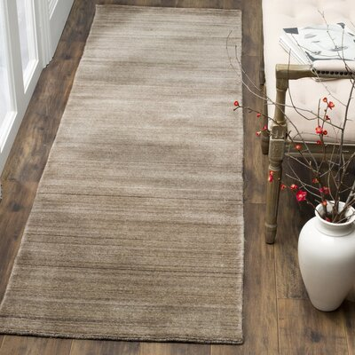 Aghancrossy Hand-Loomed Taupe Area Rug Rug Size: Runner 23 x 8