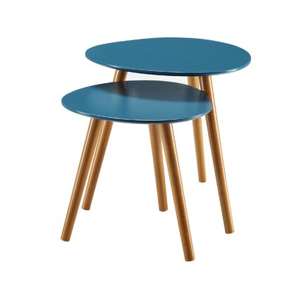 Phoebe 2 Piece Nesting Table Finish: Blue