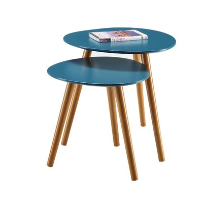 Phoebe 2 Piece Nesting Tables Color: Blue