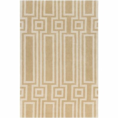 Dickinson Hand-Tufted Beige Geometric Area Rug Rug Size: 2 x 3