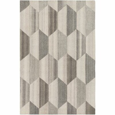 Beatrice Hand-Tufted White/Medium Gray Area Rug Rug Size: Rectangle 5 x 76