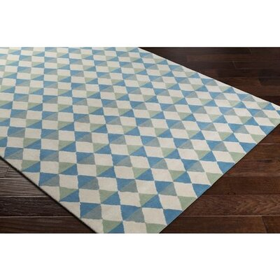 Dickinson Hand-Tufted Sky Blue Geometric Area Rug Rug Size: 2 x 3
