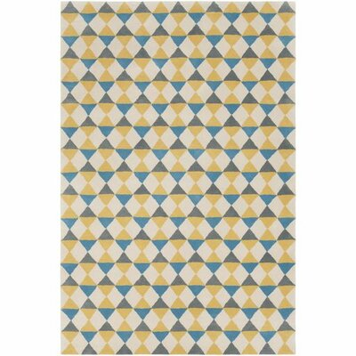 Marigold Hand-Tufted Geometric Area Rug Rug Size: 5 x 76