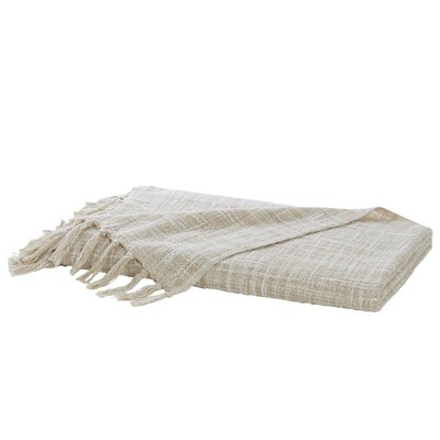 Carclunty Cotton Throw Blanket Color: Taupe / Ivory