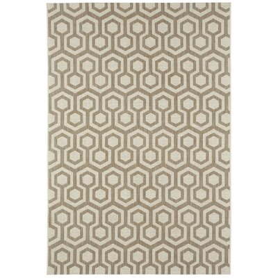 Malle Brown/Tan Honeycombs Indoor/Outdoor Area Rug Rug Size: 53 x 76