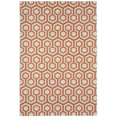 Malle Cinnamon Orange Honeycombs Indoor/Outdoor Area Rug Rug Size: 53 x 76