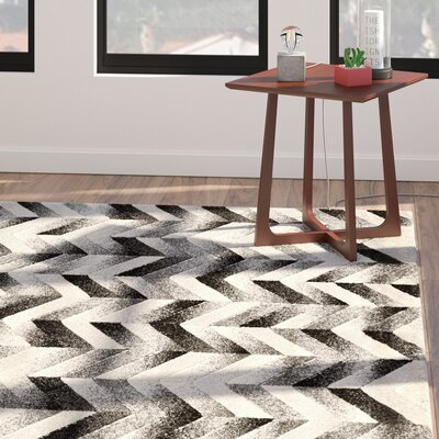 Willow Chevron Gray/Black Area Rug Rug Size: 2 x 3