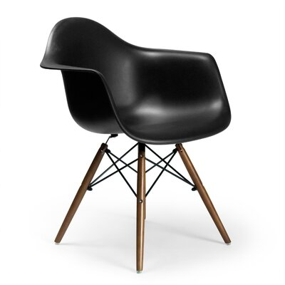 Brook Modern Solid Wood  Arm Chairs Finish: Walnut, Upholstery: Black
