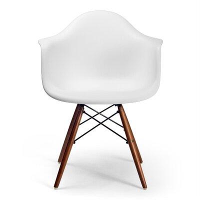 Killyglen Arm Chairs Finish: Walnut, Upholstery: White