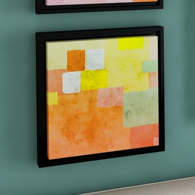 Abstract Squares III Framed Painting Print on Wrapped Canvas Size: 14