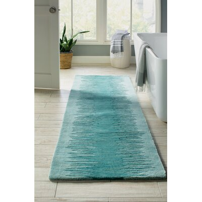 Mable Creek Hand-Tufted Aqua Area Rug Rug Size: Runner 23 x 8
