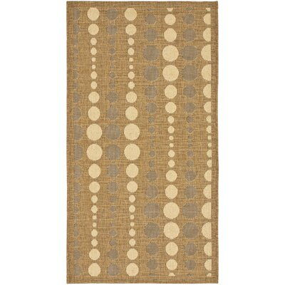 Catharine Gold/Creme Outdoor Area Rug Rug Size: Rectangle 27 x 5