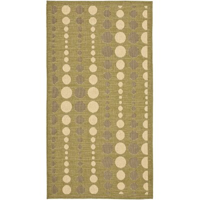Catharine Creme/Olive Outdoor Area Rug Rug Size: Rectangle 27 x 5