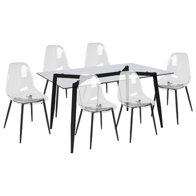 Canisteo 7 Piece Dining Set Finish: Black