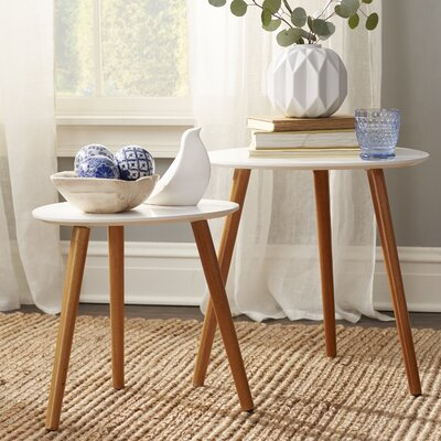 Phoebe 2 Piece Nesting Tables Color: White