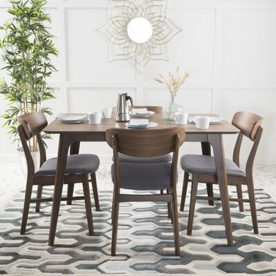 Canning 5 Piece Dining Set Chair Finish: Dark Gray, Table Finish: Natural Walnut