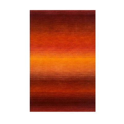 Belding Orange/Dark Red Sunrise Solid Area Rug Rug Size: 36 x 56