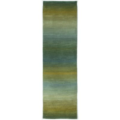 Belding Hand-Tufted Wool Blue/Gold Area Rug Rug Size: Runner 23 x 8
