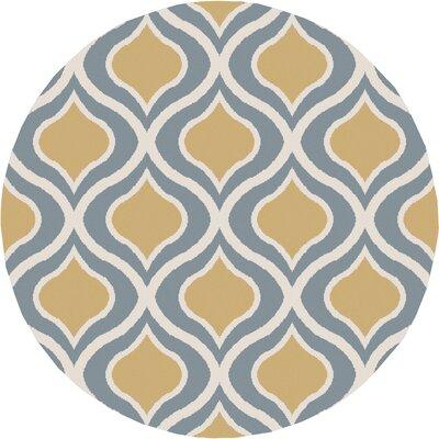 Eamor Gold/Slate Area Rug Rug Size: Round 710