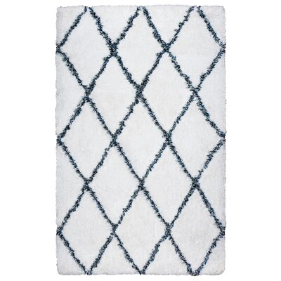 Vaquero Hand-Tufted White/Blue Area Rug Size: 76 x 96