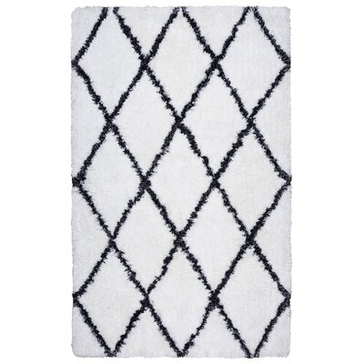 Vaquero Hand-Tufted White/Black Area Rug Size: 9 x 12