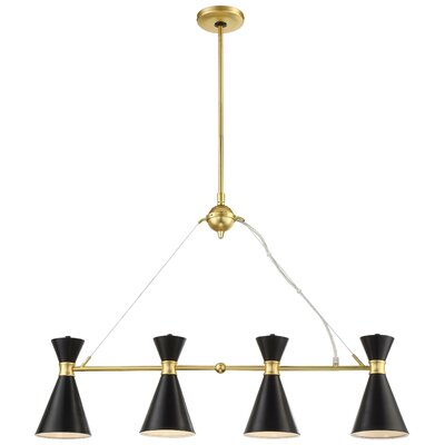 April 4-Light Kitchen Island Pendant Finish: Honey Gold Base/Black Shade