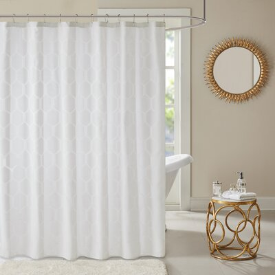 Dorian Geometric Shower Curtain Color: White