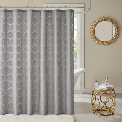 Dorian Geometric Shower Curtain Color: Gray