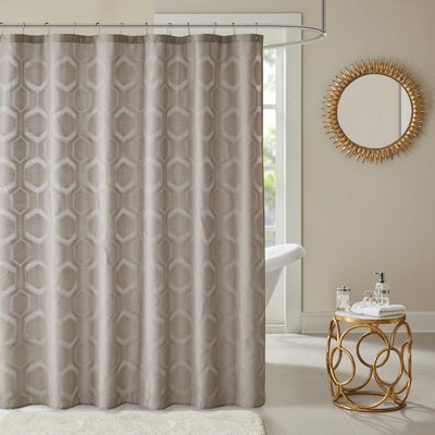 Dorian Geometric Shower Curtain Color: Taupe