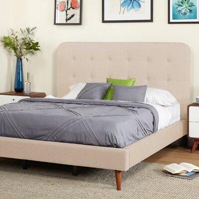 June Mid Century Queen Upholstered Platform Bed Upholstery: Beige