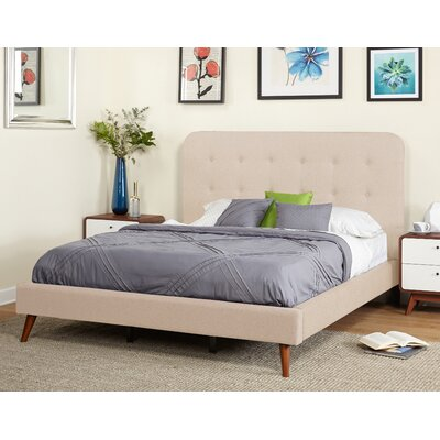 June Mid Century Queen Upholstered Platform Bed Color: Beige
