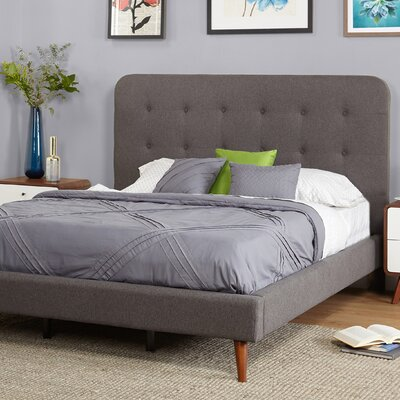 June Mid Century Queen Upholstered Platform Bed Upholstery: Gray