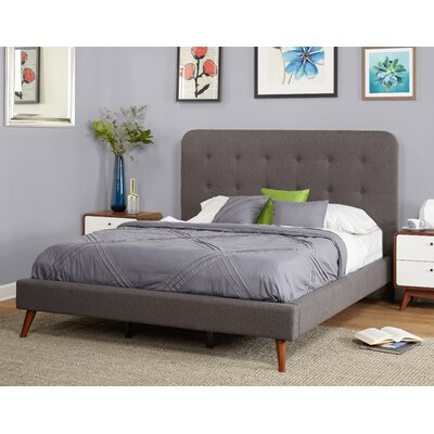 June Mid Century Queen Upholstered Platform Bed Color: Gray