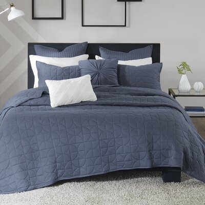 Madden 7 Piece Coverlet Set Size: King/California King, Color: Blue