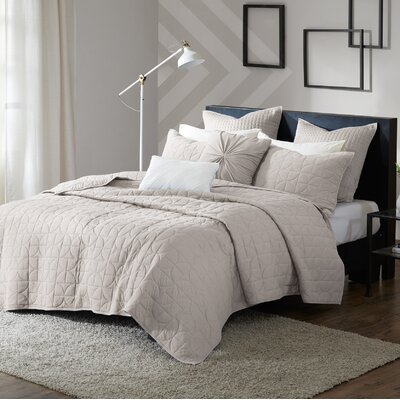 Madden 7 Piece Coverlet Set Size: King/California King, Color: Taupe