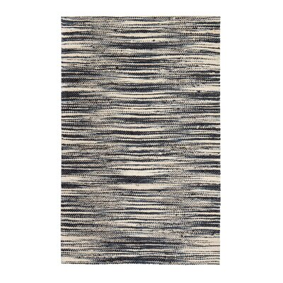 Alan Hand-Woven Ivory/Black Area Rug Rug Size: 9 x 12