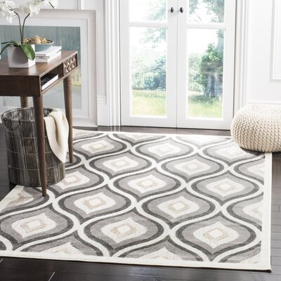Clemens Gray/Dark Gray Area Rug Rug Size: 6'7
