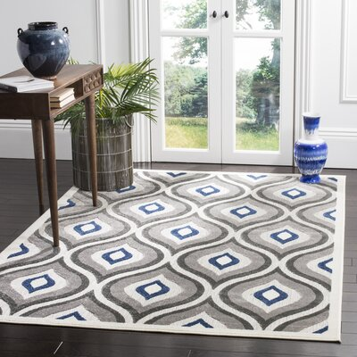Evans Gray/Royal Area Rug Rug Size: 67 x 96