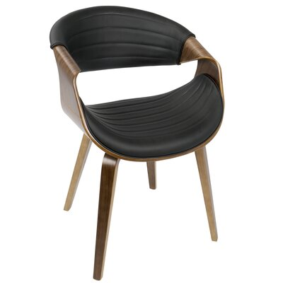 Fallsburg Arm Chair Upholstery: Black/Walnut