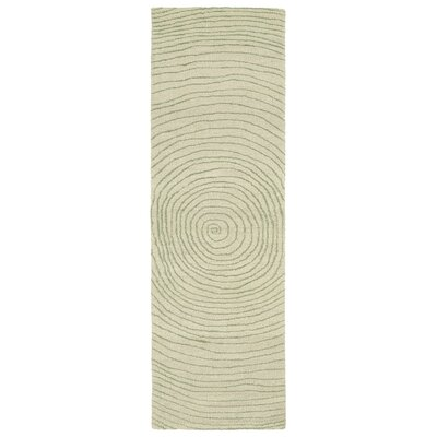 Caneadea Hand-Tufted Green Geometric Area Rug Rug Size: Runner 26 x 8