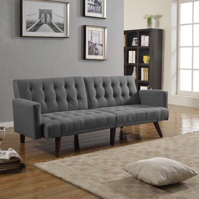 Kaylynn Mid Century Convertible Sofa Upholstery: Dark Grey