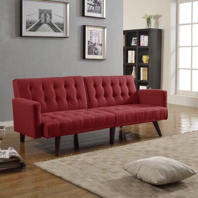Kaylynn Mid Century Convertible Sofa Upholstery: Red