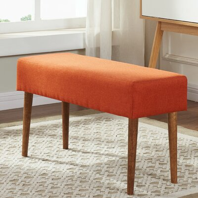 Mahal Compact Upholstered Entryway Bench Upholstery : Pumpkin